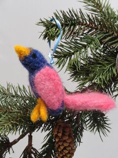 Needle Felted Pink and Blue Bird Christmas by PeacePinesStudio, $25.00