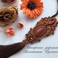 Soutache Pendant, Soutache Necklace, Tassel Earrings, Drop Earrings, Boho Jewelry, Jewelery, Shibori, Beaded Embroidery, Macrame