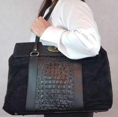 Precioso bolso negro con cocodrilo piel italiana