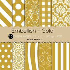 Digital Paper Set Embellish in Gold and by HeadsUpGirlsCompany