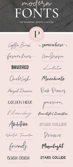 Modern fonts to download ♡ best handwritten, calligraphy, brush script fonts for logo, typography, cards, branding, Instagram quotes and creative projects. Find them in The Ambition Kit by Blog Pixie.