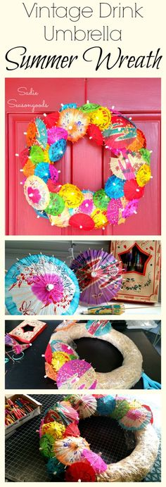 The ultimate summer wreath pairs hot, bright colors with the notion of icy cold drinks! I used two different sizes of vintage cocktail / drink umbrellas (but you could use new) and repurposed them as a funky, cheerful summer wreath. A fun upcycle DIY project and wonderful warm weather decor! #SadieSeasongoods / www.sadieseasongoods.com