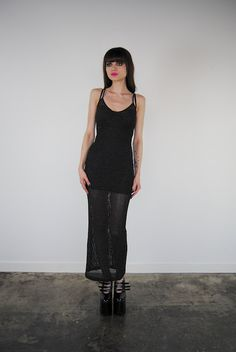 vintage dress 1990's long black and silver by youngandukraine, $68.00