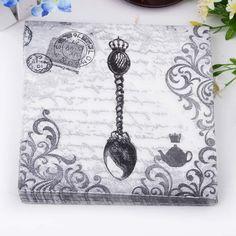 Retro pattern Spoon Crown Paper Napkins Cafe & Party Tissue Napkins Decoupage Decoration Paper 33cm*33cm 20pcs/pack/lot