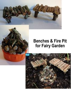 Twig Benches and a Twig/Rock fire pit for the Fairy Garden.