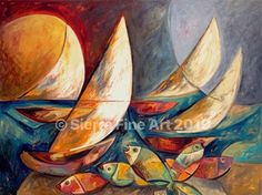 Sailing Modern Sailboats Painting Sea Theme Coastal Ocean Fish Vivid Colors Contemporary Stylish Art Key West Sunset Sailing Blues Oranges by SierraFineArt on Etsy Key West Sunset, Sailboat Painting, Equestrian Gifts, Sea Theme, Colorful Fish, Canvas Art Prints, Vivid Colors, Sailing, Coastal