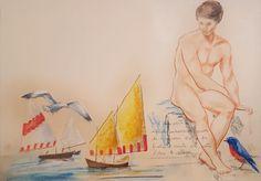 guarda (Pittura),  70x50 cm da paolo archilei pastello su cartoncino