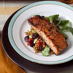 Maple-Glazed Salmon with Warm Wheat Berry Salad | MyRecipes.com #myplate #protein #vegetable #grain