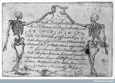 Trade-card of Nathaniel Longbottom, supplier of skeletons, St. Thomas's Street, Southwark (18th century)
