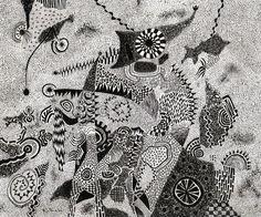 Αλέξης Ακριθάκης, Le Roi, 1966, τσίκι-τσίκι με μελάνι σε χαρτί, 34 x 41 εκ. | Alexis Akrithakis, Le Roi, 1966, ink on paper