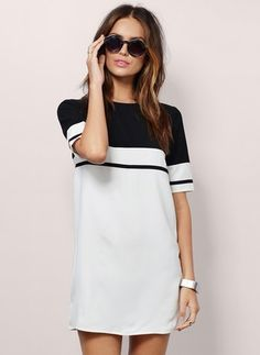 Polyester Color Block Short Sleeve Mini Casual Dresses (1013567) @ floryday.com
