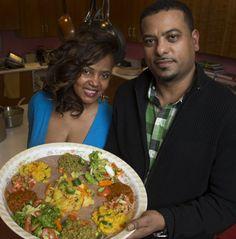 Rendez-Vous restaurant's Banchi Kinde, left, and Dukem restaurant's Michael Kidus present a vegetarian platter.