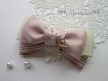 **shiny ribbon**バレッタ(ピンク) Ribbon Hair Bows, Hairbows, Fabric Flowers, Girly Things, Ribbons, Hair Pins, Diy And Crafts, Hair Accessories, Ribbon Bows