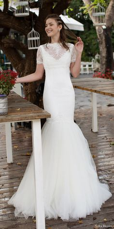 noya bridal 2016 sleeveless v neck illusion jewel lace mermaid fit flare wedding dress (1211) mv romantic shortsleeve top