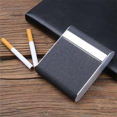 New 2017 Brand Black Cloth Holds 20 Pcs Cigarette Case Smoking Accessories Metal Cigarette Box Cigarette Holder Tobacco Box #Affiliate