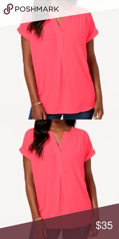 a761cac4ac5b2 NWT Charter Club Cuffed-Sleeve Split-Neck Top The split neckline and  inverted pleat