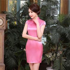 Short length Acrylic Fabric Cheongsam Qipao Chinese dress LGD31-B-02