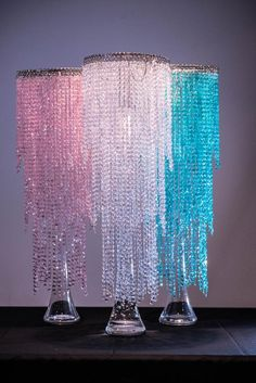 Pink/Blue/White Iridescent Bead Chandelier Wedding Centerpiece Acrylic Crystal Diamond cut Flower Holder/ Kissing ball - For the Home rings aesthetic decorations Chandelier Centerpiece, Pearl Chandelier, Diy Centerpieces, Chandelier Wedding, Chandeliers, Flower Holder, Wedding Frames, Iridescent, Pink Blue
