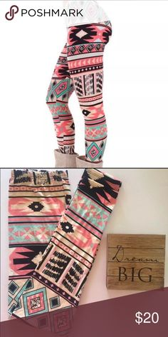 Butter soft multi-color leggings Butter soft multi color leggings in a fun print. One size fits most (2-14). Similar fit and feels as LulaRoe. Pants Leggings
