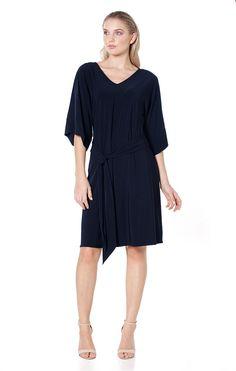 b51b48f18f4f Kimono reversible 3/4 sleeve stretch jersey tunic dress in navy