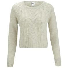Vero Moda Banita Cable Knitted Jumper - Oatmeal ($39) ❤ liked on Polyvore featuring tops, sweaters, shirts, jumpers, outerwear, cream, crop top, white crop top, white long sleeve shirt and cable knit sweater
