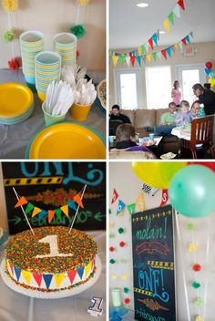 Colorful DIY First Birthday Party with bunting, DIY chalkboard, balloons, confetti cake