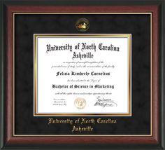 UNC Asheville U Diploma Frame-Rose Gold L-w/UNCA Seal-Black Suede/Gold – Professional Framing Company