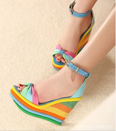 Candy Color Women Summer Shoes Platform Sandals High Heels Shoes Wedge Rainbow Beach Shoes Small Size 32-40
