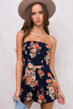 Fanciastic 2017 Summer Jumpsuits for Women Sexy Strapless Backless Bow Knot Playsuits Printing Floral Conjoined Two Pieces Suits Vestido Strapless, Backless Jumpsuit, Short Jumpsuit, Playsuit Romper, Romper Outfit, White Jumpsuit, Black Romper, Mode Boho, Flowers