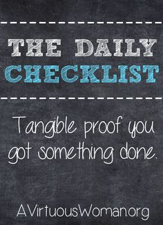 The Daily Household Chores Checklist @ AVirtuousWoman.org