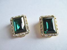 Vintage Emerald Green Rhinestone Clip on Earrings Clear Stone Trim Gold Plated | eBay