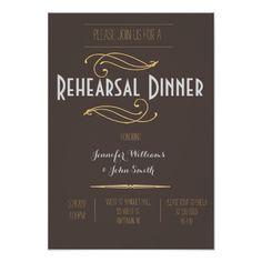 Vintage Rustic Rehearsal Dinner Invitations