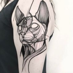 Dotwork cat tattoo by Frank Carrilho