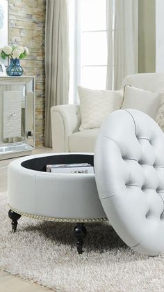 Chic Home Keller PU Leather Modern Contemporary Hidden Storage Button Tufted with Gold Nailhead Trim Castered Legs Round Ottoman, GreyLetitia Round Storage Ottoman with Carved Wood Legs THIS! In a massive walk in wardobe with used as a seat abd shoe stora Round Storage Ottoman, Round Ottoman, Round Couch, Home Decor Furniture, Diy Home Decor, Furniture Design, Furniture Market, Living Room Decor, Bedroom Decor
