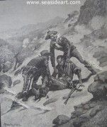 Soldiering in the South West-The Rescue of Corp. Scott is an original wood engraving by Frederic Remington. The art measures 10 3/4″ x 9″, unframed. Appeared on the front cover of Harper's Weekly on Saturday, August 21, 1886.