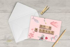 It's A Girl Announcement Card Downloadable Prints image 1 Its A Girl Announcement, Announcement Cards, Scrabble Wedding, Scrabble Tile Art, 30th Birthday Cards, Yoga Decor, Girl Sign, Printable Cards, Custom Posters
