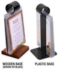 Use these NEW and LOW PRICED plastic stands with plastic or solid wood base to display multiple products when our wooden flip stands just don't fit your decor. Shop online with the Menu Shoppe today.