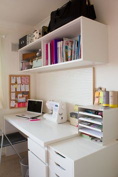 This desk is basically me. Same laptop, same sewing machine, loaded with ikea and clean white with a touch of colour<3