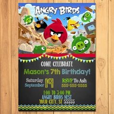 Hey, I found this really awesome Etsy listing at https://www.etsy.com/listing/245584647/angry-birds-invitation-chalkboard-angry