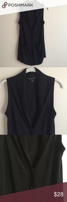 Banana Republic vest Banana Republic black sweater vest w/slight shawl collar, 3 buttons down front, longer style, never worn Banana Republic Sweaters
