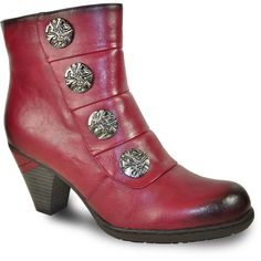 VANGELO Women Boot SD6401 Ankle Dress Boot Bordo Red Dress With Boots, Metal Buttons, Heeled Boots, Footwear, Booty, Ankle, Luxury, Heels, Classic