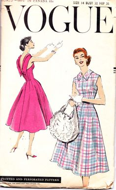 Vintage 1950s Vogue Pattern Dress with Low by allthepreciousthings, $32.00