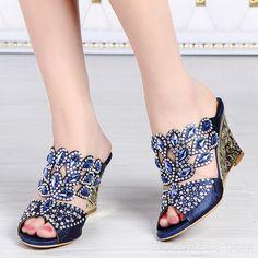 Glittering Rhinestone Wedge Sandals Wedge Sandals
