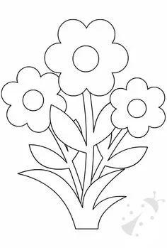 Applique Patterns, Applique Quilts, Applique Designs, Quilt Patterns, Flower Coloring Pages, Colouring Pages, Coloring Books, Preschool Coloring Pages, Coloring Pages For Kids
