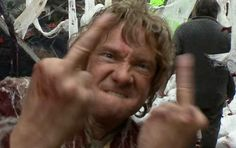 The I'm pissed off shot. | The 21 Most Glorious Photos Of Bilbo Baggins Giving The Finger