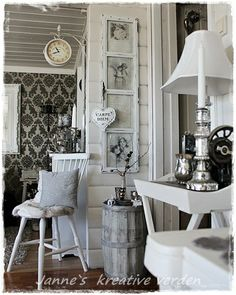 Living room Whitewashed Cottage chippy shabby chic french country rustic swedish decor idea.  *** Repinned from Barb Schleicher ***.