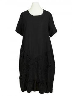 Damen Leinenkleid mit Spitze, schwarz von New Collection bei…