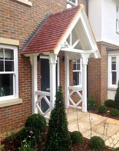 The English Porch Company produce beautiful bespoke and traditional wooden porches, porch kits, porch frames, oak framed porches and canopy porches in the UK. Front Door Canopy, Porch Canopy, Front Door Porch, Porch Swing, Porch Roof, House With Porch, House Front, Porches, Pergola