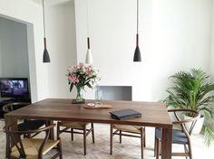 Scandinavian style. Walnut addict. Minimal tropical design. White washed floor.