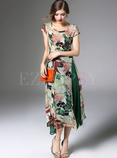 b2a5f2a2c58 Shop for high quality Stylish Floral Print Asymmetric Patch Split Skater  Dress online at cheap prices